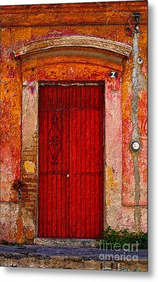 Metal Print featuring the photograph Door Series - Red by Susan Parish