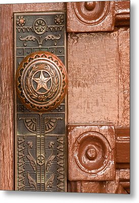 Door To Texas State Capital Metal Print by David and Carol Kelly