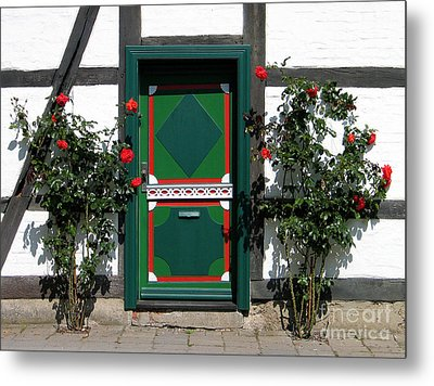 Metal Print featuring the photograph Door With Roses by Art Photography