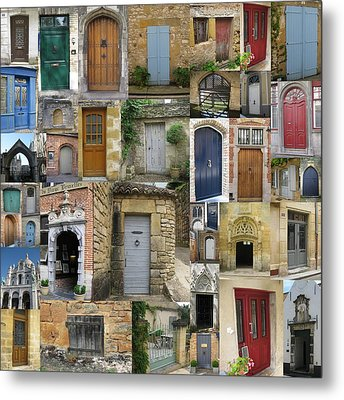 Doors Collage Metal Print by Cathy Jacobs