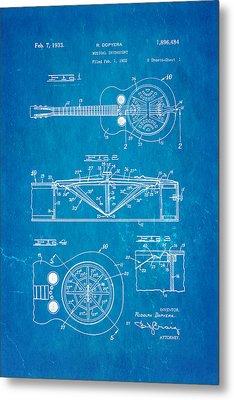 Dopyera Dobro Guitar Patent Art 1933 Blueprint Metal Print by Ian Monk
