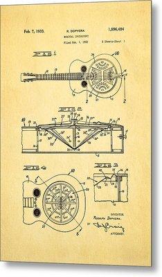 Dopyera Dobro Guitar Patent Art 1933 Metal Print by Ian Monk
