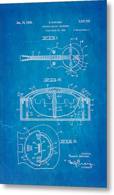 Dopyera Resonator Guitar Patent Art 1936 Blueprint Metal Print by Ian Monk