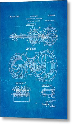 Dopyera Resophonic Violin Patent Art 1939 Blueprint Metal Print by Ian Monk