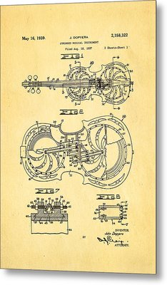 Dopyera Resophonic Violin Patent Art 1939 Metal Print by Ian Monk