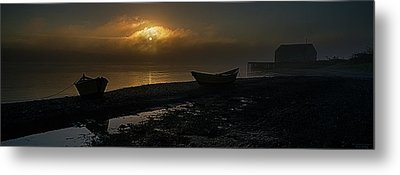 Metal Print featuring the photograph Dories Beached In Lifting Fog by Marty Saccone