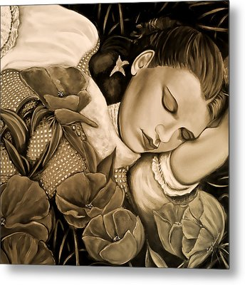 Dorothy's Sleep Sepia Metal Print by Cindy Anderson