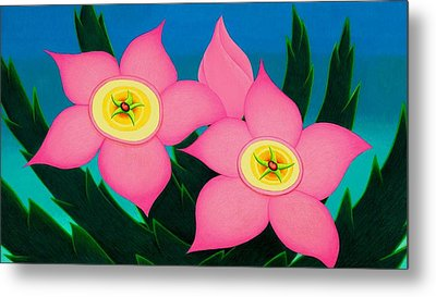 Metal Print featuring the drawing Dos Flores by Richard Dennis