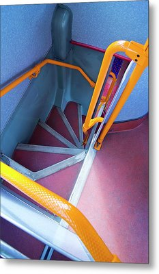 Double-decker Bus Stairs. Metal Print
