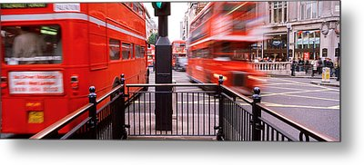 Double-decker Buses On The Road, Oxford Metal Print