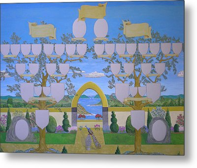 Double Family Tree Chart Mediterranean Garden Metal Print by Alix Mordant