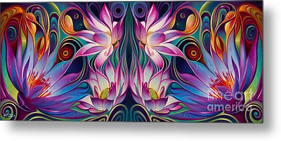 Double Floral Fantasy 2 Metal Print by Ricardo Chavez-Mendez