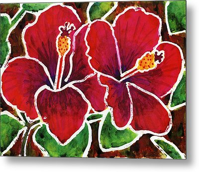 Double Hibiscus Metal Print