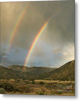 Double Rainbow In Desert Metal Print