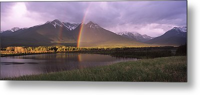 Double Rainbow Over Mountain Range Metal Print by Panoramic Images