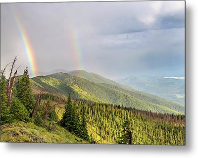 Double Rainbow Over The Whitefish Range Metal Print by Chuck Haney