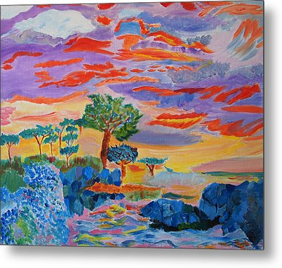 Metal Print featuring the painting Candy Coated Monterey Sunset by Meryl Goudey