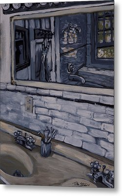 Metal Print featuring the painting Double Sink Study In White by Tilly Strauss