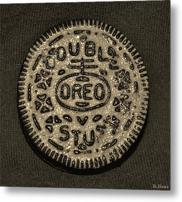 Double Stuff Oreo In Sepia Negitive Metal Print by Rob Hans