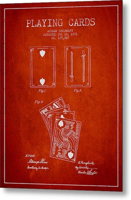 Dougherty Playing Cards Patent Drawing From 1876 - Red Metal Print