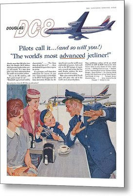 Douglas Dc8 Saturday Evening Post Advertisement Metal Print