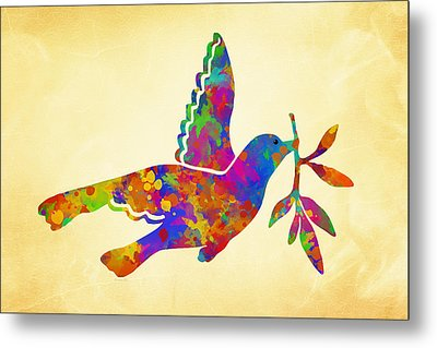 Dove With Olive Branch Metal Print by Christina Rollo