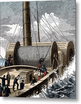 Dover To Calais Telegraph Wire, 1850 Metal Print