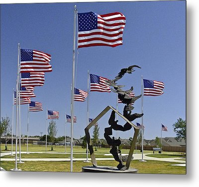 Metal Print featuring the photograph Doves And Flags by Allen Sheffield
