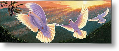 Doves And Olive Branch Metal Print by Steve Simon