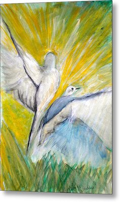 Doves At Sunrise Metal Print by Linda Waidelich