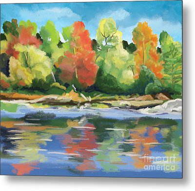 Metal Print featuring the painting Down By The River by Tim Gilliland