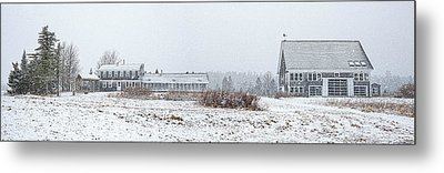 Down East Maine Farmhouse And Barn Metal Print by Marty Saccone