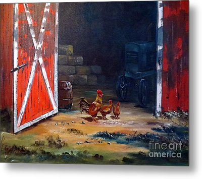 Down On The Farm Metal Print by Lee Piper