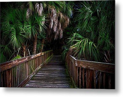 Metal Print featuring the photograph Down The Boardwalk by Pamela Blizzard
