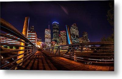 Down Town Houston From The Buffalo Bayou Bridge Metal Print