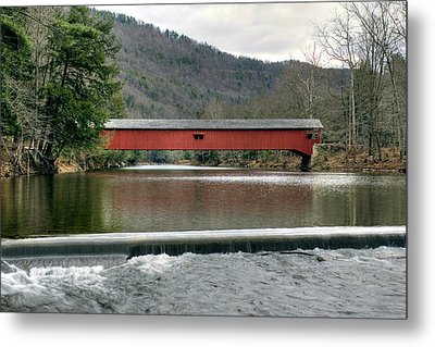 Metal Print featuring the photograph Downstream From The Historic Hillsgrove Covered Bridge by Gene Walls