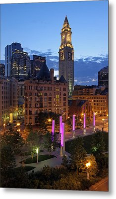 Downtown Boston With The Custom House Tower Metal Print