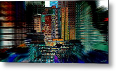 Metal Print featuring the digital art Downtown Chaos by Stuart Turnbull
