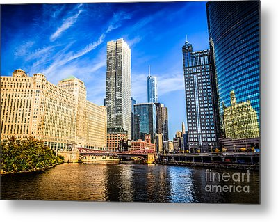 Downtown Chicago At Franklin Street Bridge Picture Metal Print