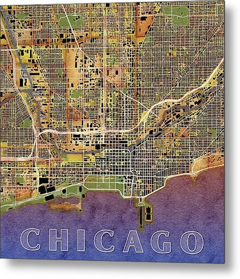 Downtown Chicago Map Metal Print