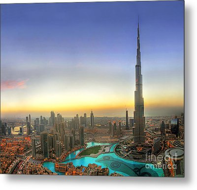 Downtown Dubai At Sunset Metal Print by Lars Ruecker