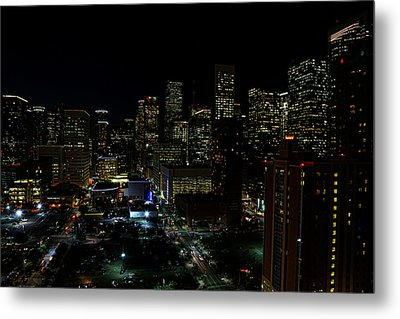 Downtown Houston At Night Metal Print by Judy Vincent