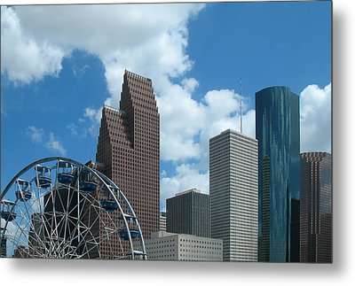 Downtown Houston With Ferris Wheel Metal Print by Connie Fox