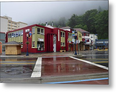 Metal Print featuring the photograph Downtown Juneau On A Rainy Day by Cathy Mahnke