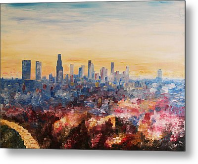 Downtown Los Angeles At Dusk Metal Print by M Bleichner
