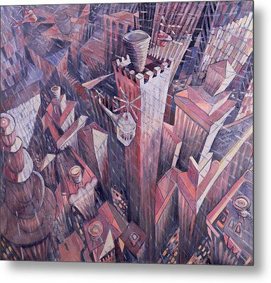 Downtown Manhattan Hailstorm, 1995 Oil On Canvas Metal Print