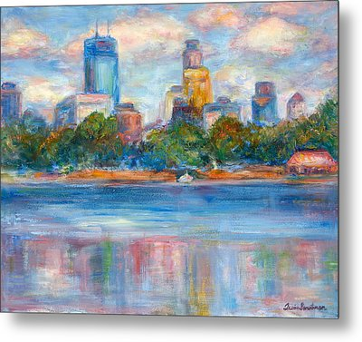 Downtown Minneapolis Skyline From Lake Calhoun II - Or Commission Your City Painting Metal Print by Quin Sweetman
