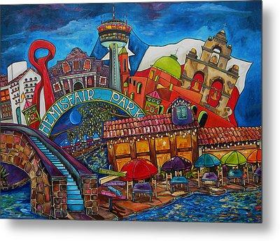 Downtown Montage San Antonio Metal Print by Patti Schermerhorn