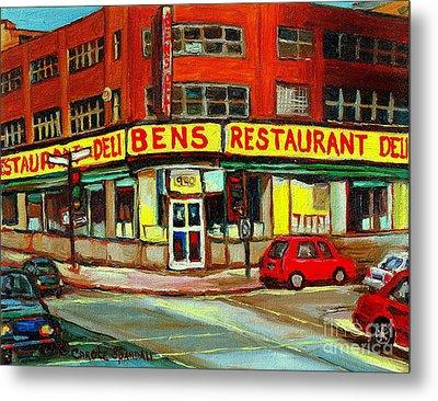 Downtown Montreal Memories Ben's Restaurant Deli  Le Fameux Smoked Meat Produits By Carole Spandau Metal Print by Carole Spandau