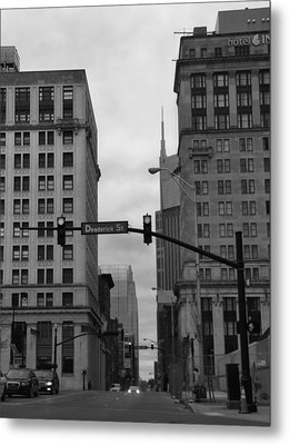 Downtown Nashville In Black And White Metal Print by Dan Sproul